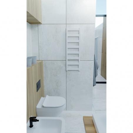 Grzejnik łazienkowy Terma Leda o wymiarach 91x30cm, wąski i smukły, kolor biały mat, podłączenie dolne o rozstawie 270mm.