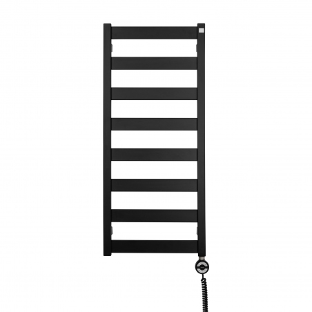 Grzejnik łazienkowy elektryczny Terma Leda. Grzejnik wąski o szerokości 40cm i wysokości 91cm, kolor czarny mat. Z prawej strony zamontowana czarna grzałḱa elektryczna Moa o mocy 300W