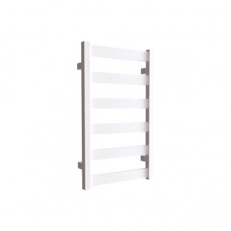 Grzejnik łazienkowy Terma Leda. Grzejnik wąski o szerokości 40cm i wysokości 67cm, kolor biały mat, z podłączeniem dolnym o rozstawie 370mm