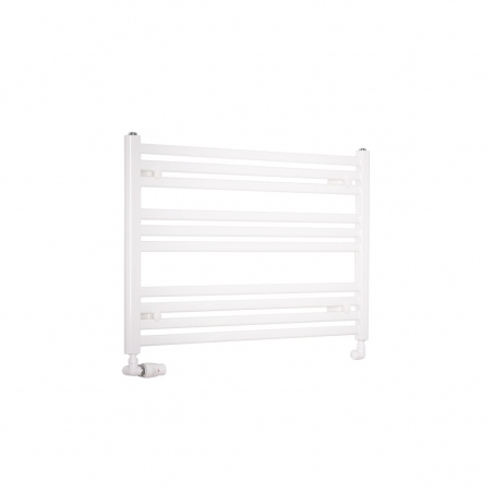 Grzejnik łazienkowy poziomy Intention o wymiarach 60x90cm w kolorze białym z zamontowanym zestawem zaworów termostatycznych Vario Term Vision białych w figurze osiowej lewej.