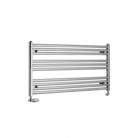Chromowany grzejnik łazienkowy poziomy Intention o wymiarach 60x120cm z zamontowanym zestawem zaworów termostatycznych Vario Term Vision chrom w figurze osiowej lewej.