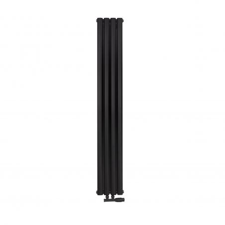 Grzejnik dekoracyjny Ultimate pojedynczy 160x24cm czarny matowy z zaworem zespolonym Multiflow prawym czarnym