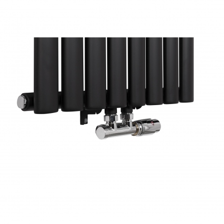Zawór zespolony Multiflow chromowany w figurze prawej zamontowany na grzejniku dekoracyjnym Ultimate 160x36cm czarnym