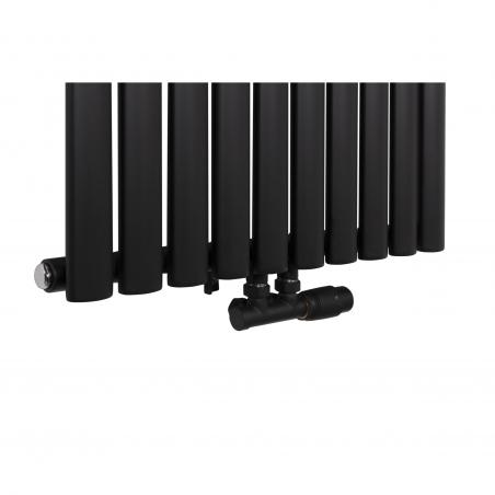 Grzejnik dekoracyjny Ultimate pojedynczy 180x60cm czarny matowy z zaworem zespolonym Multiflow prawym czarnym