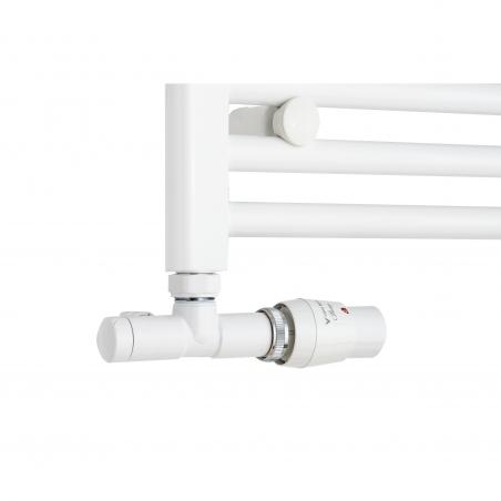Grzejnik łazienkowy Constans w kolorze białym błyszczącym z podłączeniem dolnym szerokim. Z lewej strony zamontowany zawór zespolony Vario Term Unico chromowany w figurze kątowej prawej pozwalający na zmianę rozstawu podłączenia na dolne lewe 50mm