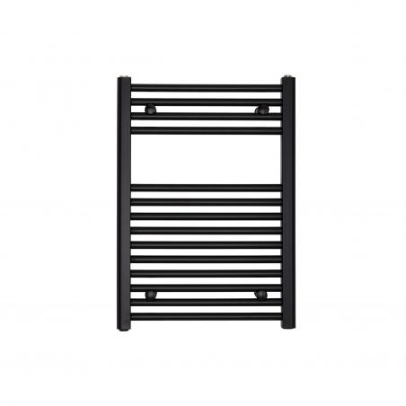 Grzejnik łazienkowy Constans w kolorze czarnym o wymiarach 70x50cm z podłączeniem dolnym o rozstawie 455mm.