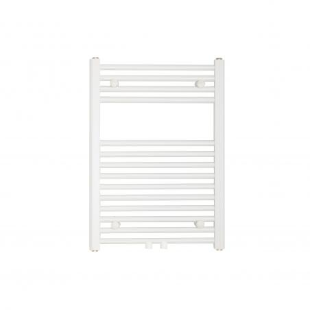 Grzejnik łazienkowy Constans w kolorze białym błyszczącym o wymiarach 70x50cm z podłączeniem dolnym środkowym o rozstawie 50mm.