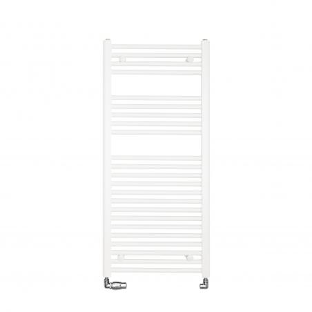 Grzejnik łazienkowy drabinkowy Constans 110x50cm w kolorze białym z podłączeniem dolnym o rozstawie 455mm. Zamontowany zestaw chromowany zaworów Vario Term Vision w figurze osiowo-lewej.