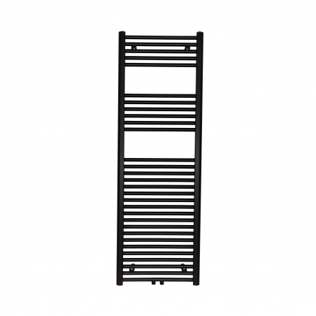 Grzejnik łazienkowy drabinkowy Constans 150x50cm w kolorze czarnym z podłączeniem dolnym środkowym o rozstawie 50mm.