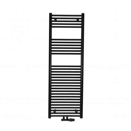 Grzejnik łazienkowy drabinkowy Constans 150x50cm w kolorze czarnym z podłączeniem dolnym środkowym o rozstawie 50mm. Zamontowany zawór zespolony Vario Term Twins czarny w figurze kątowej prawej.