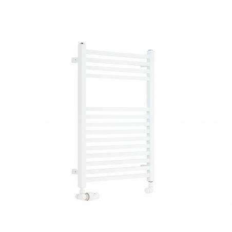 Dekoracyjny grzejnik łazienkowy Essence o wymiarach 70x50cm w kolorze białym z podłączeniem dolnym o rozstawie 470mm z białym zestawem termostatycznym Vario Term Vision w figurze osiowo-lewej.