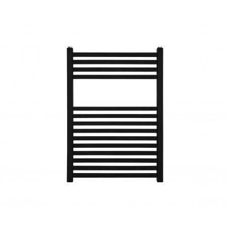 Nowoczesny grzejnik łazienkowy dekoracyjny Essence o wymiarach 70x50cm w kolorze czarnym matowym z podłączeniem dolnym o rozstawie 470mm.