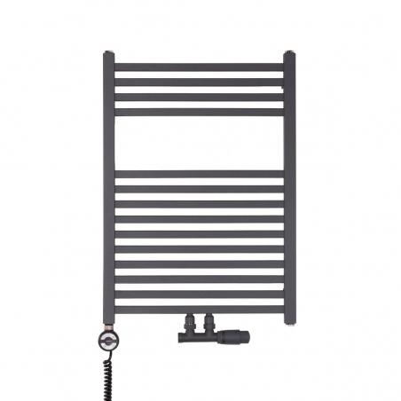 Nowoczesny grzejnik łazienkowy dekoracyjny Essence o wymiarach 70x50cm w kolorze antracytowym / grafit struktura z podłączeniem dolnym środkowym o rozstawie 50mm oraz z zamontowanym zaworem zespolonym Multiflow antracyt, figura kątowa prawa. Dodatkowo z lewej strony czarna grzałka elektryczna Terma Moa 300W.