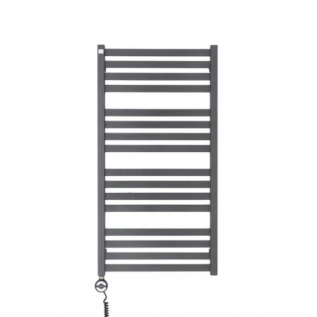 Grzejnik łazienkowy elektryczny o prostokątnych profilach Terma Moon. Wymiary 96x50cm, kolor antracyt / metallic grey z zamontowaną z lewej strony grzałką elektryczną Terma Moa w kolorze czarnym, o mocy 400W.