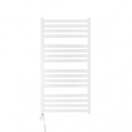 Grzejnik łazienkowy elektryczny o prostokątnych profilach Terma Moon. Wymiary 96x50cm, kolor biały z zamontowaną z lewej strony grzałką elektryczną Terma Moa w kolorze białym, o mocy 400W.