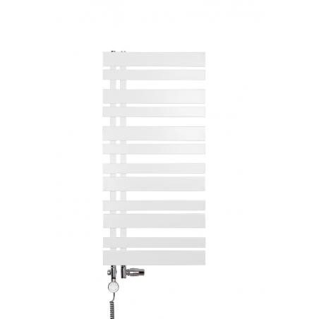 Grzejnik łazienkowy Pop Star Up o wymiarach 40x100cm w kolorze białym z zestawem zaworów Integra chrom, figura lewa oraz grzałką Moa chrom