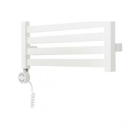 Grzejnik łazienkowy elektryczny Terma Moon w kolorze białym z grzałką Terma Moa białą zamontowaną z lewej strony grzejnika.