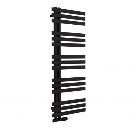 Grzejnik łazienkowy Elche 145x50cm czarny z zaworem zespolonym Multiflow czarny figura kątowa prawa