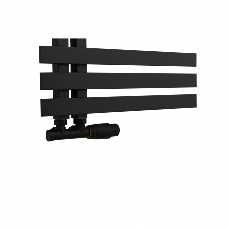 Zawór Multiflow czarny prawy na grzejniku Elche