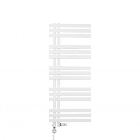 Grzejnik łazienkowy dekoracyjny Elche biały o wymiarach 120x50cm z zestawem termostatycznym Integra biała oraz z grzałką Terma Moa białą