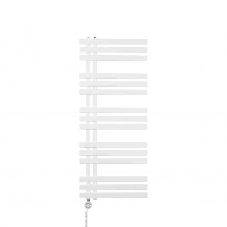 Grzejnik łazienkowy dekoracyjny Elche biały o wymiarach 120x50cm z grzałką Terma Moa biały