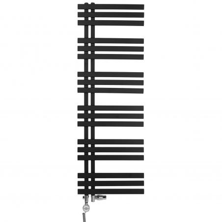 Grzejnik łazienkowy Elche 145x50cm czarny z zestawem termostatycznym Integra chrom figura kątowa prawa oraz z grzałką Terma Moa chrom