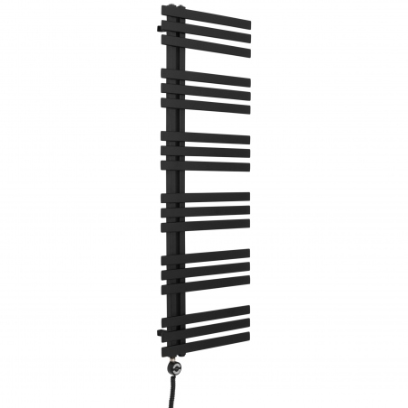 Grzejnik łazienkowy Elche 145x50cm czarny z zestawem trójników Integra czarna oraz z grzałką Terma Moa czarna