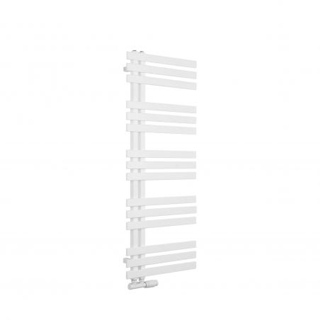 Grzejnik łazienkowy dekoracyjny Elche biały o wymiarach 120x50cm z zaworem Multiflow białym figura prawa