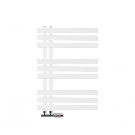 Grzejnik łazienkowy dekoracyjny Elche biały o wymiarach 69x50cm z zaworem Multiflow chromowanym figura prawa