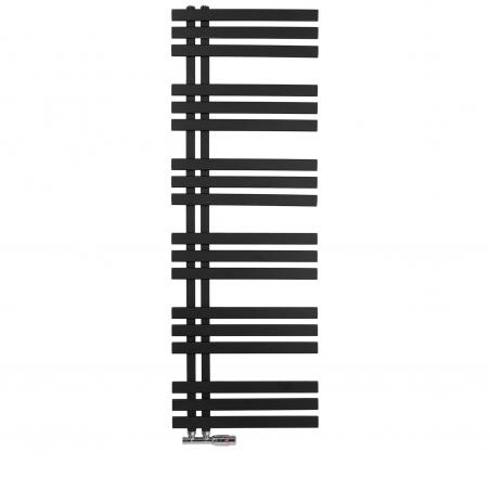 Grzejnik łazienkowy Elche 145x50cm czarny z zaworem Multiflow chrom figura kątowa prawa