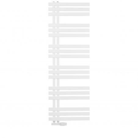 Grzejnik łazienkowy dekoracyjny Elche biały o wymiarach 145x50cm z zaworem Multiflow białym figura prawa