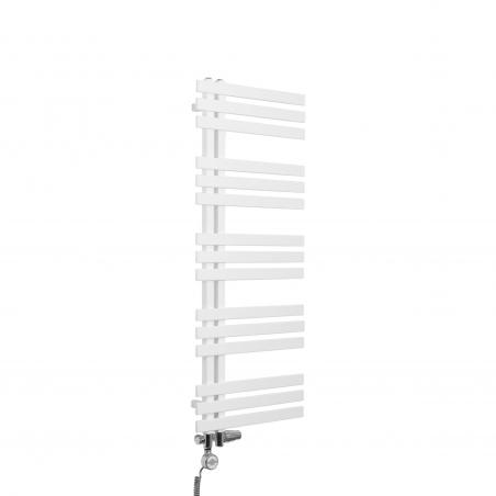 Grzejnik łazienkowy dekoracyjny Elche biały o wymiarach 120x50cm z zestawem termostatycznym Integra chrom oraz z grzałką Terma Moa chrom
