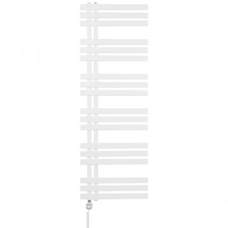 Grzejnik łazienkowy dekoracyjny Elche biały o wymiarach 145x50cm z grzałką Terma Moa biały