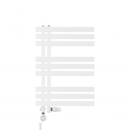 Grzejnik łazienkowy dekoracyjny Elche biały o wymiarach 69x50cm z zestawem termostatycznym Integra biała oraz z grzałką Terma Moa białą