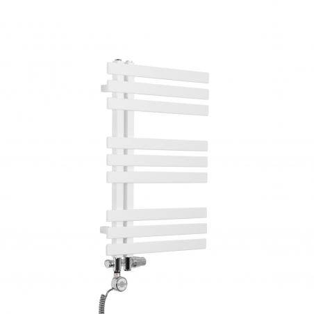 Grzejnik łazienkowy dekoracyjny Elche biały o wymiarach 69x50cm z zestawem termostatycznym Integra chrom oraz z grzałką Terma Moa chrom