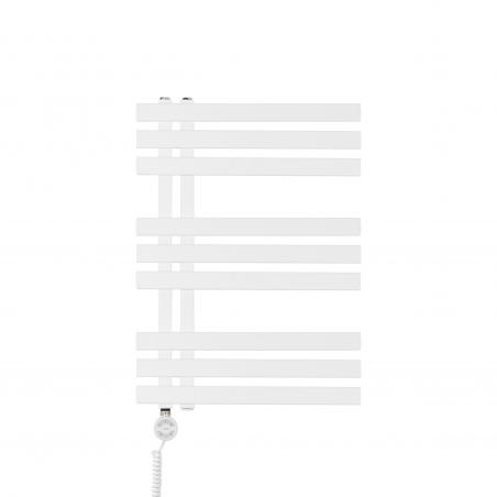 Grzejnik łazienkowy dekoracyjny Elche biały o wymiarach 69x50cm z grzałką Terma Moa białą