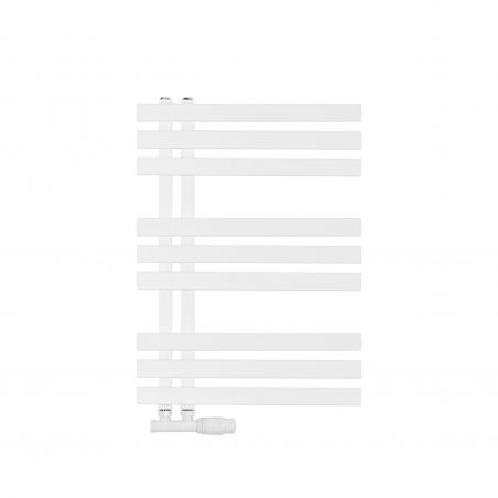 Grzejnik łazienkowy dekoracyjny Elche biały o wymiarach 94x50cm z zaworem Multiflow białym figura prawa