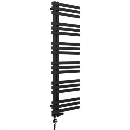 Grzejnik łazienkowy Elche 145x50cm czarny z zestawem termostatycznym w kolorze czarnym Integra figura kątowa prawa oraz z grzałką Terma Moa