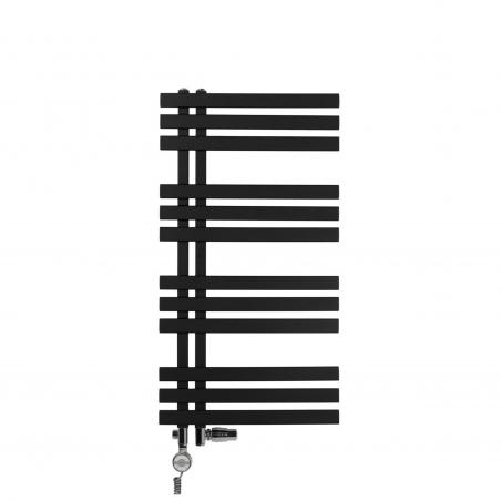 Grzejnik łazienkowy Elche 94x50cm czarny z zestawem trójników Integra chrom oraz z grzałką Terma Moa chrom