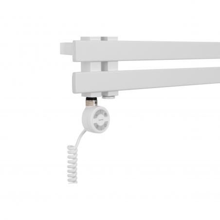 Grzałka elektryczna Terma Moa biała zamontowana do białego grzejnika Elche
