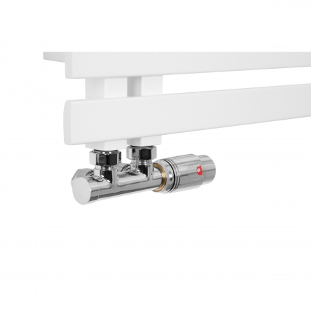 Zawór Multiflow chromowany na grzejniku Elche białym