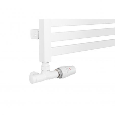 Białe przyłącze jednootworowe Unico na grzejniku łazienkowym Moon w kolorze białym.