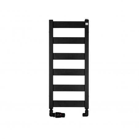 Grzejnik łazienkowy Terma Leda. Grzejnik wąski o szerokości 30cm i wysokości 67cm, kolor czarny, z podłączeniem dolnym o rozstawie 270mm z zestawem zaworów Vario Term Vision w figurze osiowej lewej