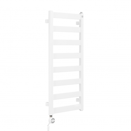 Grzejnik łazienkowy Terma Leda. Grzejnik wąski o szerokości 40cm i wysokości 91cm, kolor biały, z podłączeniem dolnym o rozstawie 370mm z zamontowaną grzałką Terma Moa