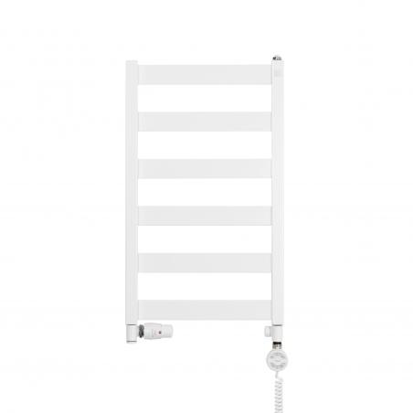 Grzejnik łazienkowy Terma Leda. Grzejnik wąski o szerokości 40cm i wysokości 67cm, kolor biały mat, z podłączeniem dolnym o rozstawie 370mm z białym zestawem termostatycznym Integra w figurze osiowej lewej
